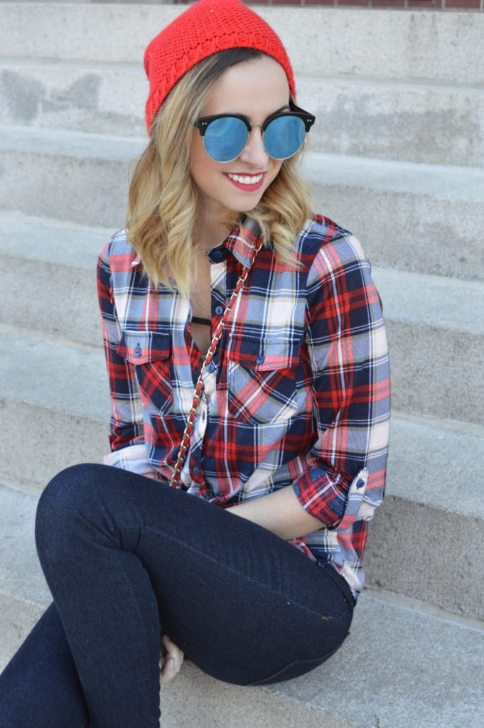 Canadian fashion blogger flannel red hat regina fashion blogger